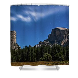 Half Dome And Moonlight - Yosemite Shower Curtain