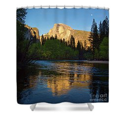 Half Dome And The Merced River With The Moon Shower Curtain
