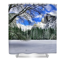 Half Dome In The Snow Shower Curtain