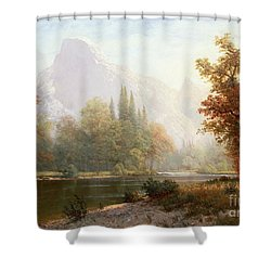 Half Dome Yosemite Shower Curtain by Albert Bierstadt