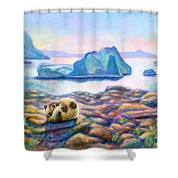 Half Hidden Shower Curtain by Retta Stephenson