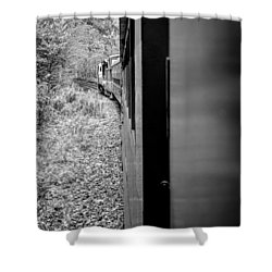 Shower Curtain featuring the photograph Half In Half Out Of The Train In The Mountains by Kelly Hazel