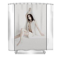Shower Curtain featuring the photograph Half Naked Woman Is Studio by Michael Edwards