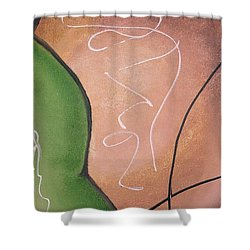 Shower Curtain featuring the painting Half Pear Still Life Abstract Art By Saribelleinspirationalart by Saribelle Rodriguez