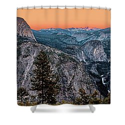 Halfdome And The Waterfalls At Sunset Shower Curtain