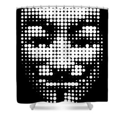 Halftone Anonymous Face  Shower Curtain