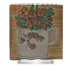 Shower Curtain featuring the painting Hall China Orange Poppy And Poppies by Kathy Marrs Chandler