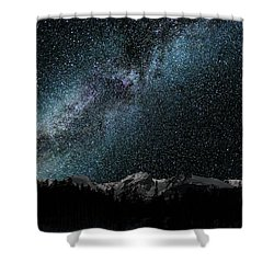 Shower Curtain featuring the photograph Hallet Peak - Milky Way by Gary Lengyel