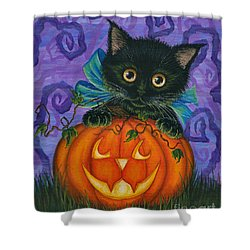 Shower Curtain featuring the painting Halloween Black Kitty - Cat And Jackolantern by Carrie Hawks