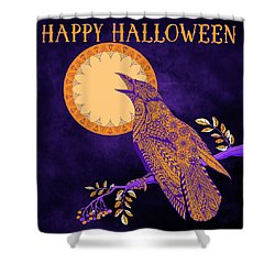 Halloween Crow And Moon Shower Curtain by Tammy Wetzel