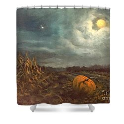 Halloween Mystery Under A Star And The Moon Shower Curtain