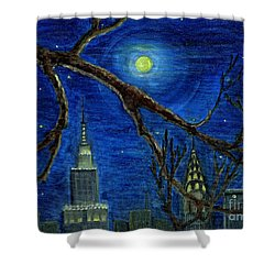 Halloween Night Over New York City Shower Curtain by Anna Folkartanna Maciejewska-Dyba
