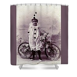 Halloween Pierrot Boy With Antique Bicycle Circa 1890 Shower Curtain by Peter Gumaer Ogden