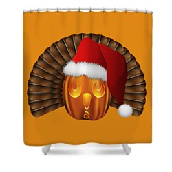 Hallowgivingmas Santa Turkey Pumpkin Shower Curtain