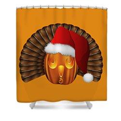 Shower Curtain featuring the digital art Hallowgivingmas Santa Turkey Pumpkin by MM Anderson