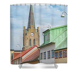 Shower Curtain featuring the photograph Halmstad Street Scene by Antony McAulay