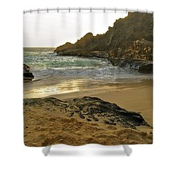 Halona Beach Cove Shower Curtain by Michael Peychich