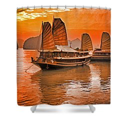 Halong Bay Junks Shower Curtain by Dennis Cox WorldViews