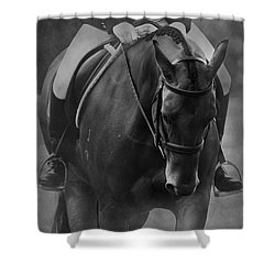 Halt Black And White Shower Curtain