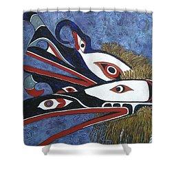 Hamatsa Masks Shower Curtain by Elaine Booth-Kallweit