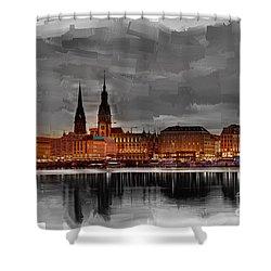 Hamburg Germany Skyline 01 Shower Curtain