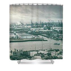 Hamburg Port  Shower Curtain