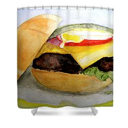 Hamburger On Kasier Roll Shower Curtain