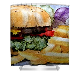 Hamburger  With Fries Shower Curtain