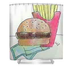 Hamburger With Fries Shower Curtain by Loretta Nash