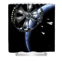 Shower Curtain featuring the digital art Hammer Station In Earth Orbit by Bryan Versteeg