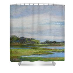 Hammonassett Sky Shower Curtain by Vikki Bouffard