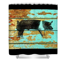 Shower Curtain featuring the drawing Hampshire Boar 1 by Larry Campbell
