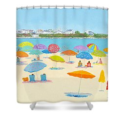 Hampton Beach Umbrellas Shower Curtain