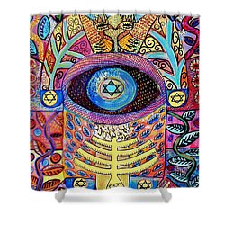-hamsa Menorah Tree Of Life - Bright Lights  Shower Curtain by Sandra Silberzweig