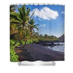 Hana Bay Palms Shower Curtain by Inge Johnsson