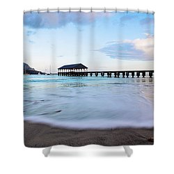 Shower Curtain featuring the photograph Hanalei Bay Pier At Sunrise by Melanie Alexandra Price