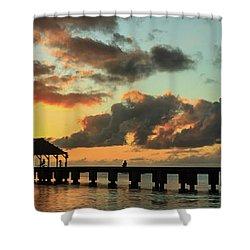 Hanalei Pier Sunset Panorama Shower Curtain