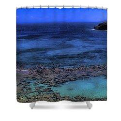 Shower Curtain featuring the photograph Hanauma Bay Panorama by Ellen Heaverlo