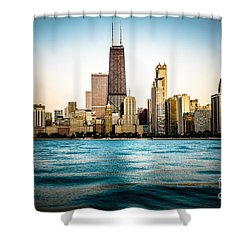 Hancock Building And Chicago Skyline Photo Shower Curtain by Paul Velgos