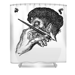 Hand And Pen Shower Curtain