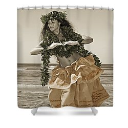 Hand Colored Hula Shower Curtain by Himani - Printscapes