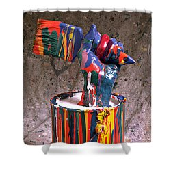 Hand Coming Out Of Paint Can Shower Curtain by Garry Gay