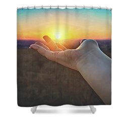 Shower Curtain featuring the photograph Hand Holding Sun - Sunset At Lapham Peak - Wisconsin by Jennifer Rondinelli Reilly - Fine Art Photography