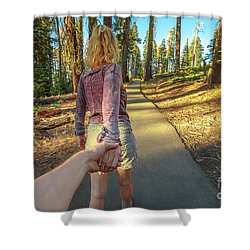 Hand In Hand Sequoia Hiking Shower Curtain