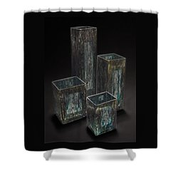 Hand Painted Glass Set Of Four Blue White Yellow Shower Curtain