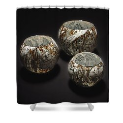 Hand Painted Glass Set Of Three Brown White Shower Curtain