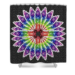 Shower Curtain featuring the mixed media Hand Totem Mandala by Kym Nicolas