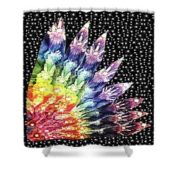 Shower Curtain featuring the mixed media Hand Totem Wing by Kym Nicolas