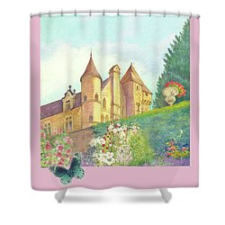 Handpainted Romantic Chateau Summer Garden Shower Curtain