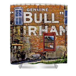 Shower Curtain featuring the photograph Handpainted Sign On Brick Wall by David and Carol Kelly
